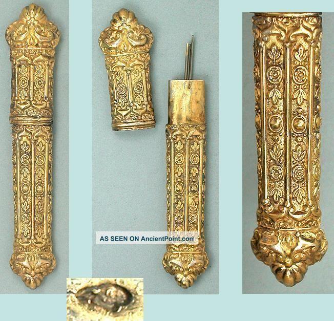 Ornate Antique Gilded Silver Needle Case French Hallmark Circa 1830 Needles & Cases photo
