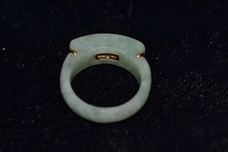 Vintage Chinese Spinach Jade 14k Yellow Gold Ring Size 7.  75 Hallmarked Rose photo