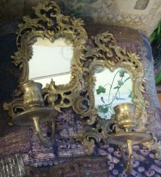 Pair Antique Gilded Bronze Sconces With Mirrors,  Hanging Rings And Candlesticks photo