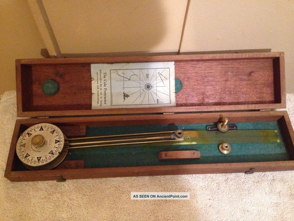 - 24 Hour - Vintage Marine Navigational Plotter - Cole Protractor - Circa 1919 Other Maritime Antiques photo