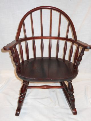 Antique Nichols & Stone Windsor Rocking Chair Child ' S Rocker photo