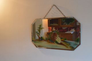 Antique Octagon Hanging Wall Mirror & Garden Painted Print No Frame 22x13 Inches photo