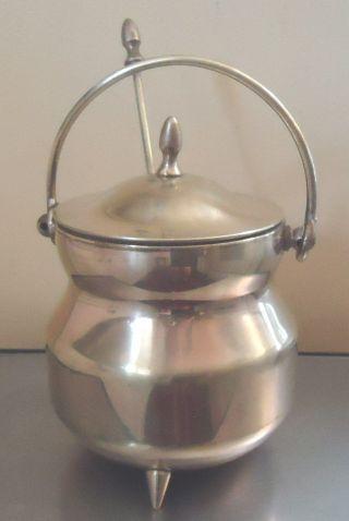Vtg Brass Cauldron Covered Fire Pot Brass Top W/finial 3 Brass Feet Torch Rod photo