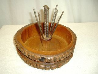 Vintage Wood Bark Nut Bowl W/cracker & 6 Picks Holiday Christmas Usa Ship photo