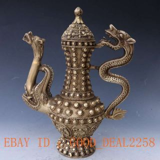 Chinese Brass Handwork Carved Dragon Teapot W Ming Dynasty Mark photo
