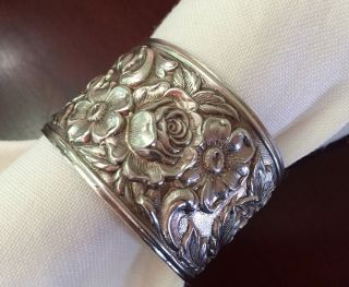 Kirk & Son Repousse Stieff Sterling Silver Napkin Ring Nouveau Victorian 2 photo