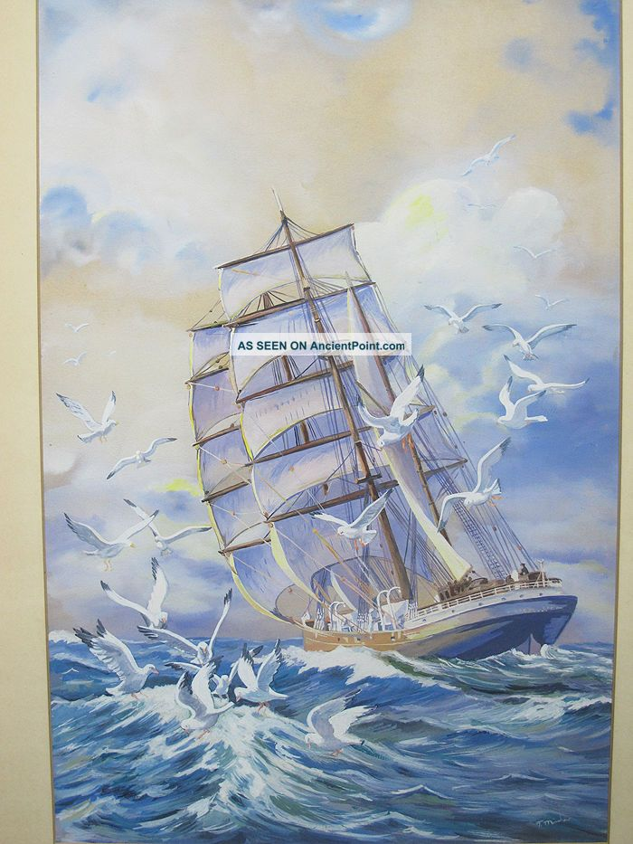 Vtg T.  Minshaw Orig Ship Portrait Maritime Seagull Folk Art Gouache Painting Yqz Other Maritime Antiques photo