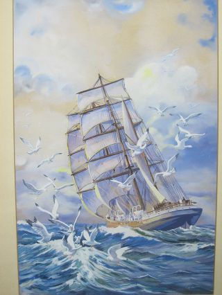 Vtg T.  Minshaw Orig Ship Portrait Maritime Seagull Folk Art Gouache Painting Yqz photo