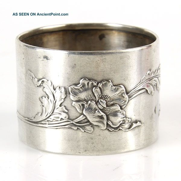 Art Nouveau Silver Napkin Ring France Circa 1900 Napkin Rings & Clips photo