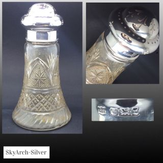 Solid Silver Sugar Shaker Cut Glass Hallmarked Sheffield 1909 Cooper Brothers photo