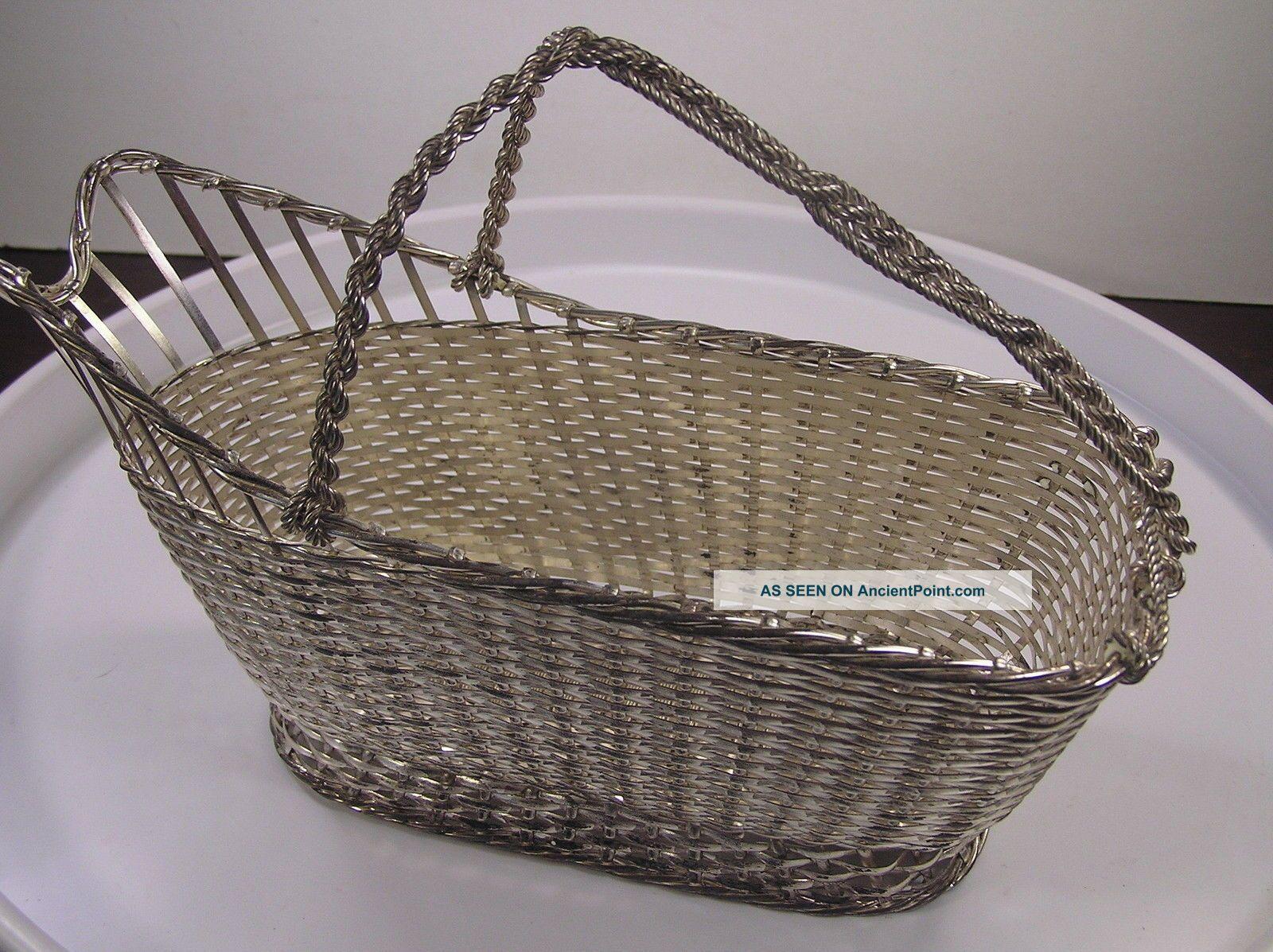 Christofle Vannerie Silver Plate Woven Wine Basket Caddy Panier à Vin Baskets photo