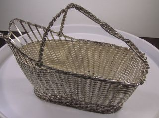 Christofle Vannerie Silver Plate Woven Wine Basket Caddy Panier à Vin photo