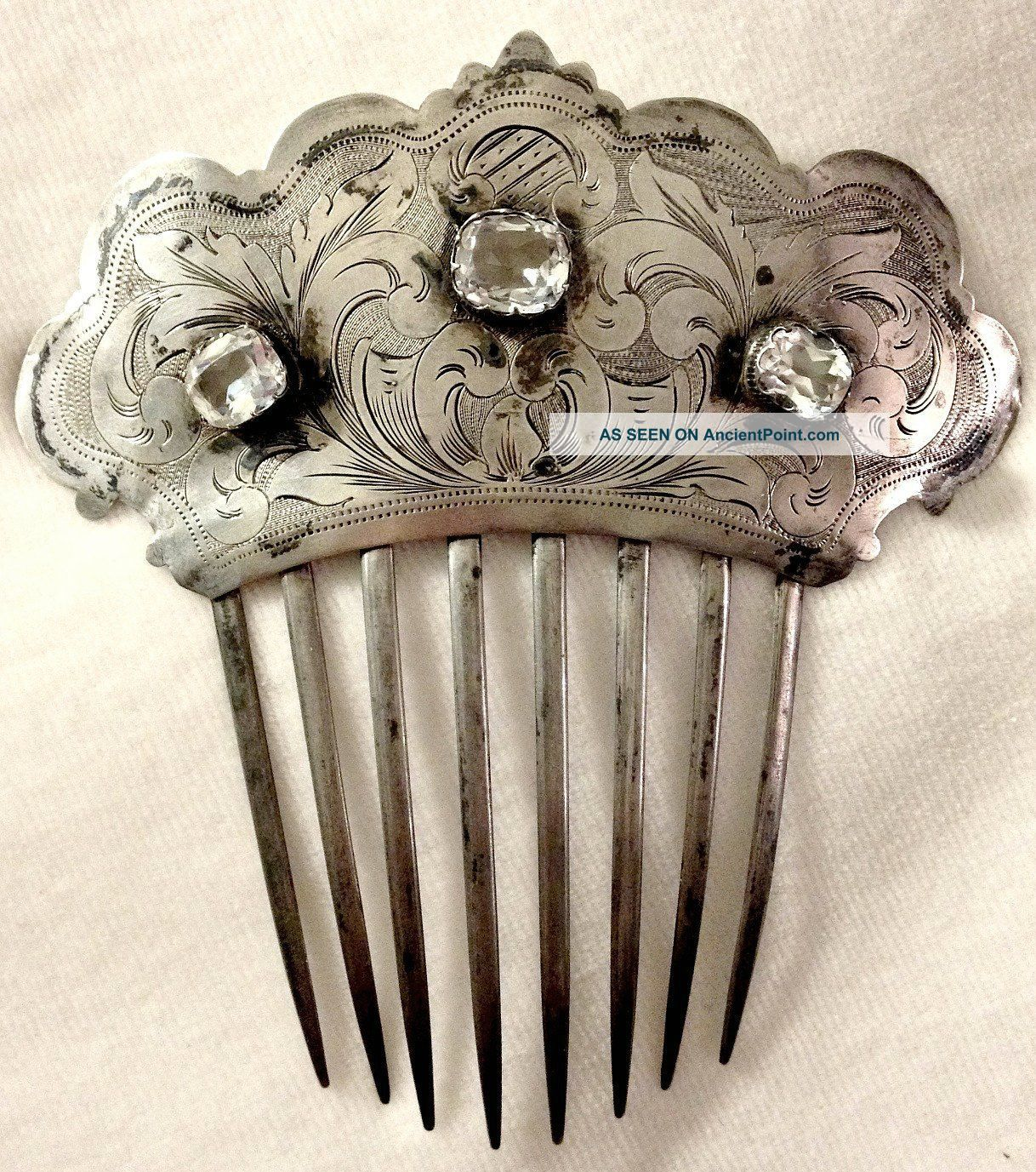 C1840 Ornate.  900 Coin Silver Jeweled Hair Comb Floral Engraved W/ Paste Crystal Coin Silver (.900) photo