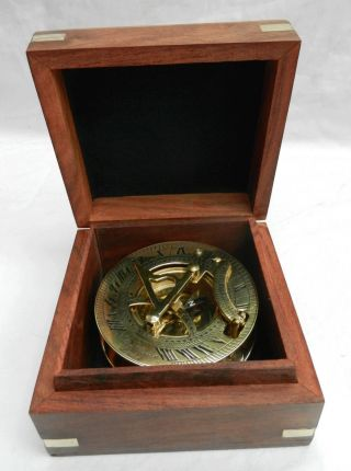 Portable Sundial & Compass In A Wooden Box - Bnib - Seconds photo