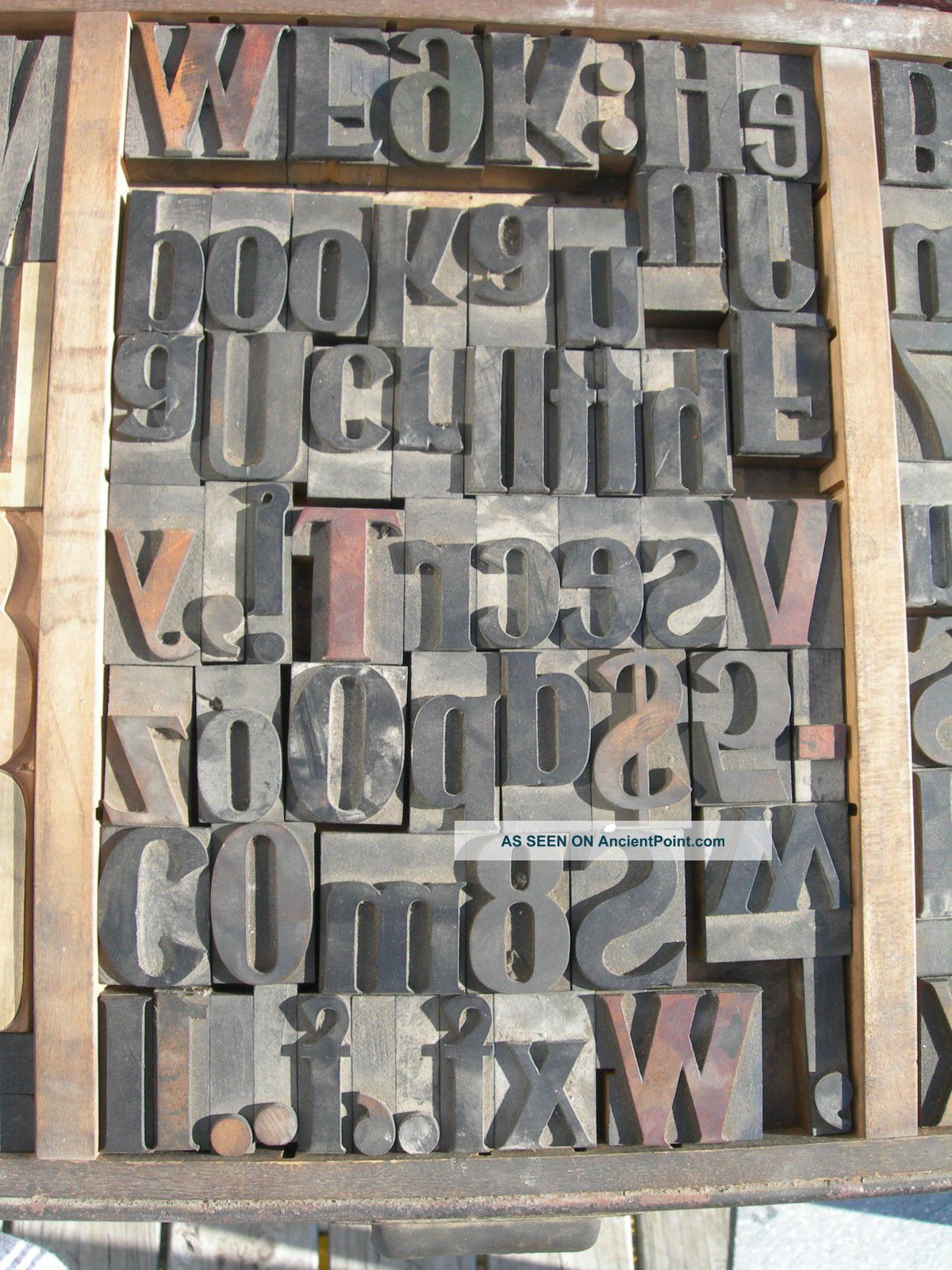 155pcs Antique Wood Carved Printing Blocks & Tray Numbers