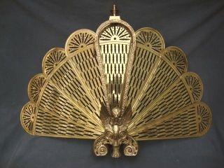 Vntg Folding Brass Fireplace Screen Peacock Fan Gothic Gargoyle Winged Griffin photo
