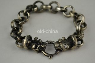China Second - Hand Old Handwork Tibet Silver Tiger Connector Decorate Bracelet photo