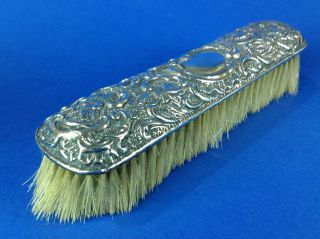 Antique English Victorian Sterling Silver Vanity Clothes Brush Art Noveau photo