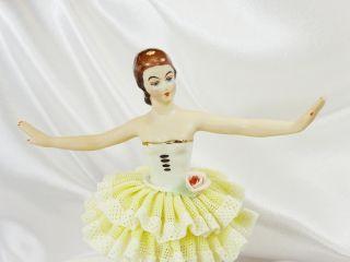 Antique Dresden Lace Ballerina En Pointe Yellow Tutu 6