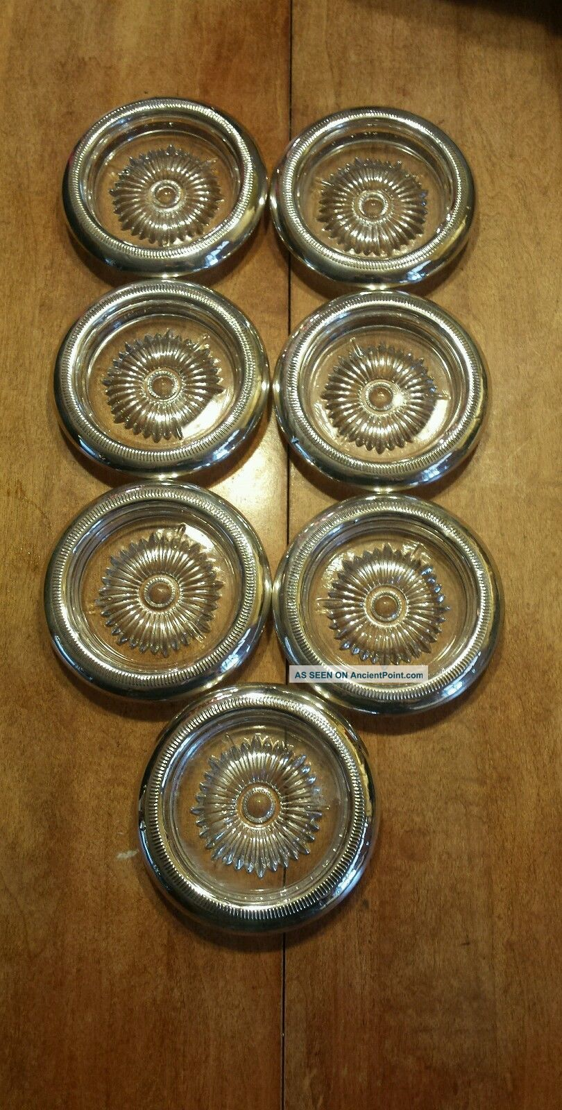 Gorgeous 7 Glass And Sterling Silver Coasters Dishes & Coasters photo