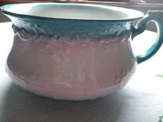 Vintage Chamber Pot,  Potty,  Pot,  Collectable Decorative Handle Blue Shades To Pink photo