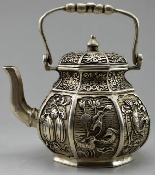 Collectible Decorated Old Tibet Silver Carved Flower Bird Fish Fruit Tea Pot photo
