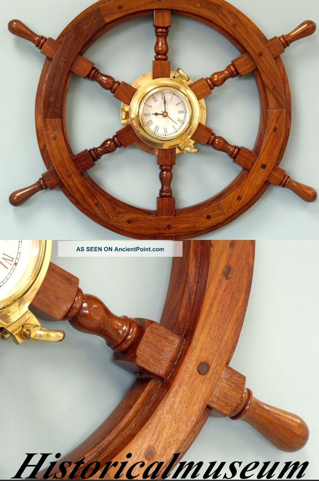 Ship Wheel Antique Replica Boat Steering Decorative Wooden Brown 18  Vintage Wheels photo