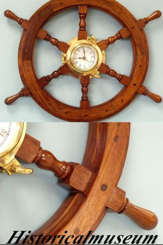 Ship Wheel Antique Replica Boat Steering Decorative Wooden Brown 18  Vintage photo