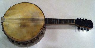 Antique Vintage,  8 - String Mandolin Banjo,  Good,  Needs Skin photo