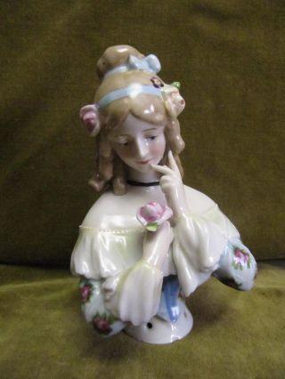 German Porcelain Wallendorf Half Doll / Demi Figurine Height 14,  4cm photo