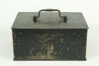 Antique 1800 ' S Steel (not Tin) Fire - Resistant Deed Cash Safe Box W Key,  Red Insi photo