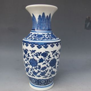 Rare Chinese Blue And White Hand - Painted Vase W Qing Dynasty Qianlong Mark photo