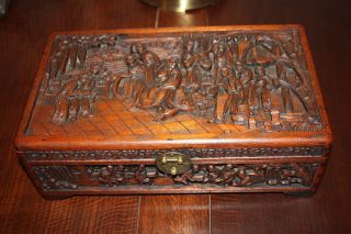 Antique Chinese Carved Wood Box - Highly Carved Multi Figure photo