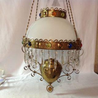 B&h Jeweled Victorian Hanging Library Kerosene Oil Lamp Chandelier Rare Ornate photo