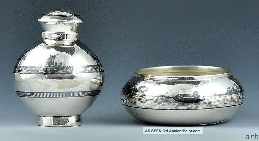 Charming Middle Eastern 900 Purity Silver Niello Enamel Salt Cellar & Pepper Pot Middle East photo