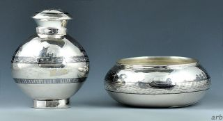 Charming Middle Eastern 900 Purity Silver Niello Enamel Salt Cellar & Pepper Pot photo