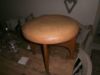 Retro Vintage Mid Century Danish Style Teak Leather Circular Stool Footstool photo