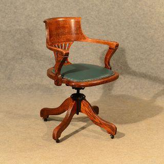 Antique Oak Office Desk Elbow Study Swivel Chair Quality Vintage Edwardian C1910 photo