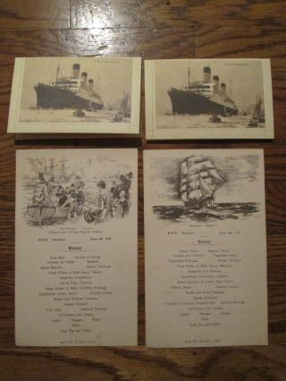 Onboard Letter Card Rms Majestic White Star Line 1931 Postcard Dinner Menu Red photo