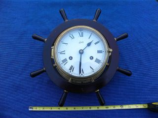 1950's Vintage Schatz Ships Wheel Clock 8 Day 8 Bell,  Germany photo