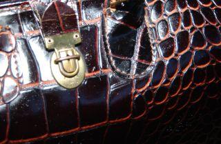 Vintage Brown Leather Doctor ' S Medical Bag,  Upjohn,  Alligator Look Very Rare photo