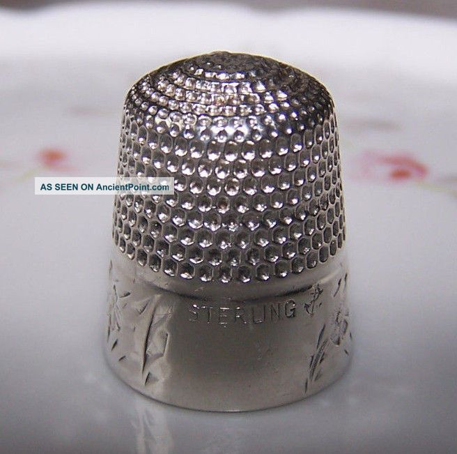 Antique Golsmith Stern Sterling Silver Engraved Floral Band Thimble Repaired Thimbles photo