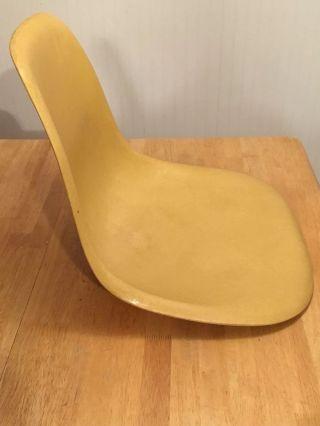 Herman Miller Charles Eames Fiberglass Side Shell Chair Ochre Signed Sharp photo