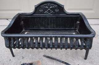 Victorian Antique Cast Iron Whale Bone Fireplace Grate Log Box Holder 1800 ' S photo
