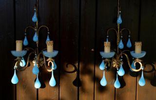 Vintage Pair Blue Opaline Bobeches Drops Sconces - 2 Lights photo