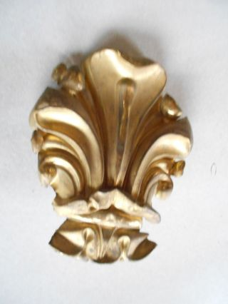 Antique French Brass Pediment Ornament 1900 photo