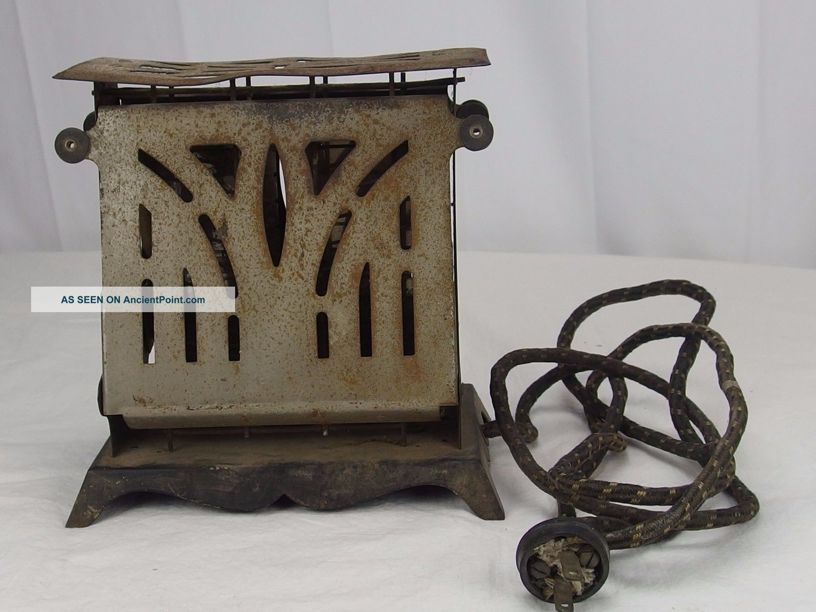 Antique Electrahot Toaster Style 502s Cloth Cord 2 Drop Side Toasters photo
