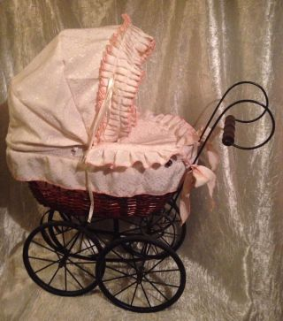 Vintage Victorian Style Metal/wicker/wood,  Toy/baby Doll Carriage/stroller/buggy photo