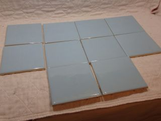 10 Pc Vintage Romany Spartan Ceramic Light Blue 722 Wall Floor Tile 4 1/4 Nos photo