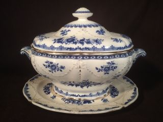 Antique Minton Soup Tureen Lincoln Pattern Ironstone Blue Decoration Circa 1860s photo
